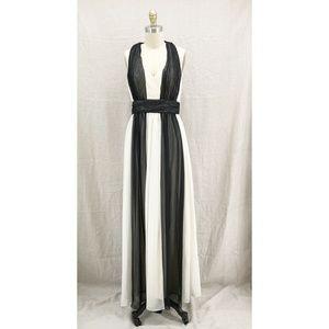 MAXANDCLEO Black White Jane Maxi Gown Formal Dress